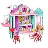 Barbie DWJ50 FAMILY 切尔西俱乐部便携式游戏,多彩建筑玩具,包括玩偶,厨房套装