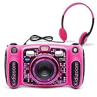 VTech Kidizoom Duo 5.0 豪华数码自拍相机,带 MP3 播放器和耳机, 粉红色