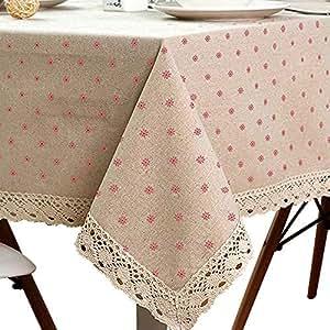 linenlux 雏菊棉麻桌布流苏蕾丝防尘桌布适用于厨房餐桌*吧桌面装饰矩形 / 长方形雏菊 )