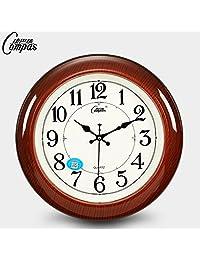 Compas 康巴丝静音挂钟客厅卧室钟表欧式田园挂表大仿实木壁钟石英钟表14英寸直径咖木色
