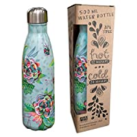 Allen Designs AB56 花朵不锈钢水瓶 16.9 盎司 10.25 英寸 x 2.75 英寸