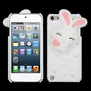 卡扣式保护套适合苹果 iPod Touch * 5 * 6 个可爱兔子带粉色渲染耳朵珍珠 3D 迪亚曼特背面