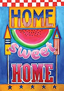 Toland Home Garden Sweet Home 28 x 40 Inch Decorative Colorful Patriotic Summer July 4 USA Double Sided House Flag