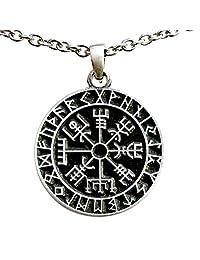 Vegvísir wayfinder Guidepost Safe Travel Compass Talisman Viking Pewter Pendant  银色