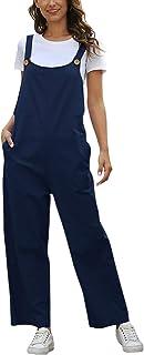 Omoone 女式休闲宽松阔腿绑带棉质连身裤带口袋
