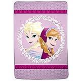 Disney 冰雪奇缘人物柔软毛绒超细纤维儿童床上用品毛毯,单人床尺寸 157.48 厘米 x 228.6 厘米,紫色