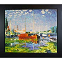 overstockArt Red Boats at Argenteuil Artwork by Claude Monet with New Age Wood Frame, Black Finish