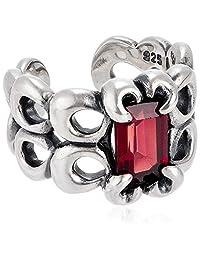 e0254am 【银饰品】 宝石银耳夹 颜色-红色 颜色-红色
