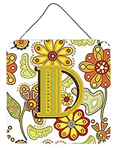 """Caroline's Treasures Letter D Floral Mustard and Green Wall or Door Hanging Prints, 6 x 6"""""""