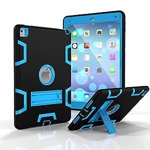 iPad Mini 4支架防震重型橡胶耐冲击坚固混合三层装甲保护壳带自由触控笔,360 度保护 Black & Blue