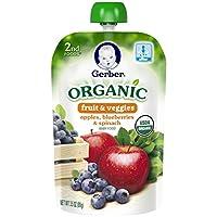 Gerber 2代兒童輔食果泥 蘋果,藍莓和菠菜 6袋 每袋3.5盎司(99g)