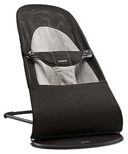 瑞典 BABYBJORN 婴儿 摇椅 躺椅 平衡型 可折叠收纳 网眼面料 黑&浅灰 适合新生到13KG  (产地 瑞典)