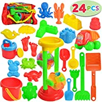 JOYIN 24 件沙滩沙玩具套装包括沙水轮、沙箱汽车、沙模、桶、沙铲工具套件、儿童户外玩耍的沙子玩具(包含1个额外的网袋)