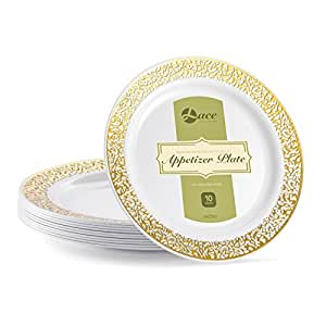 "蕾丝白色金色 白色 7.5"" Appetizer Plates LC740GRW"