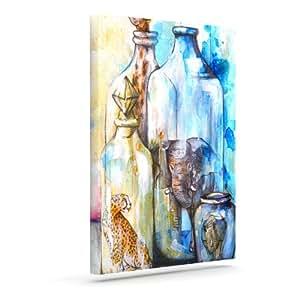 "Kess InHouse Kira Crees""瓶装动物""户外帆布墙壁艺术 8"" x 10"" KC1003AAC01"