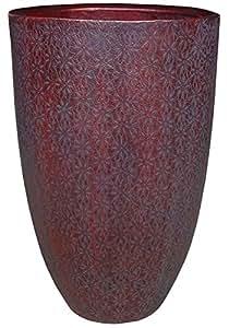 禅花园花朵赤褐花盆,尺寸 - 20.32 厘米 x 38.1 厘米(直径 x 高),颜色 - 红色