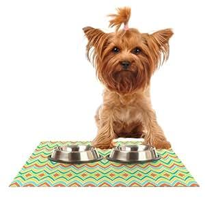 Kess InHouse Pom 图案设计明亮大胆的宠物碗喂食垫,60.96 x 38.1 厘米