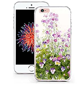 Iphone 6S 交叉设计手机壳,CCLOT 苹果 Iphone 6 保护套保护花卉黑色可爱女孩(TPU 保护套硅胶保护套)6S-DECB (51) C18