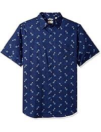 Haggar 男士大加长短袖微图形印花梭织衬衫
