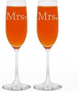 情侣婚礼香槟香水壶 透明 8盎司 GWAT-E-TF-Mrs.Mrs