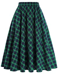KATE kasin 女式 A 字复古裙网格图案格子 kk633/ kk495