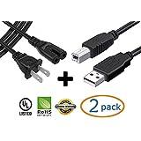 3.05 米 2.0 A 至 B/公对母线 USB 线 + 3.05 米 2 插脚图 - 8 交流电源线,适用于惠普 Photosmart 5510 5520 6510 6520 B211A B8550 C310A 打印机 + eCool4U 电缆