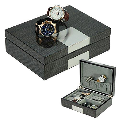 TimelyBuys 灰色姜黄色漆木手表 袖扣盒 & 戒指 储物收纳盒 男士首饰盒