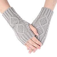 冬季手套保暖针织无指手套拇指孔短臂保暖器 女式