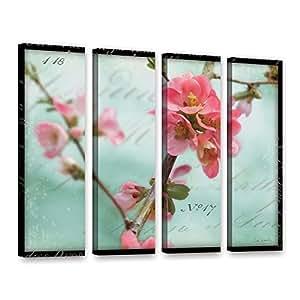 ArtWall 2sch001d2432w Sue Schlabach's Quince Blossom 4 件套画廊装裱油画艺术品 粉红色 24X32 2sch001d2432w