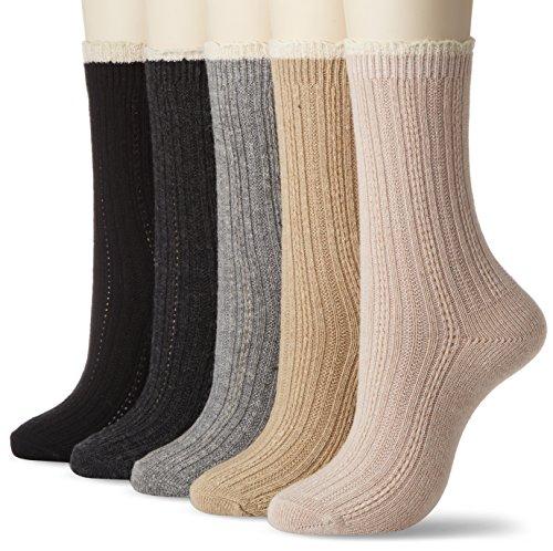 *足 女人 袜子 袜子 羊绒触感 相同图案5双套装 素色其他、请从3种图案中选择
