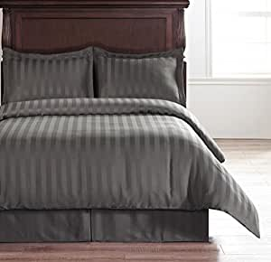 Hotel Collection Charcoal Grey 4-Piece Reversible Damask Stipe Duvet Cover Set with 1pc Duvet Insert 碳灰色 全部