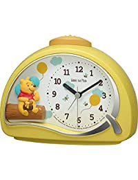 Rhythm 桌面时钟 黄色 11.4x15.2x7.5厘米 闹钟 迪士尼 小熊维尼 电子音闹钟 4SE561MC33