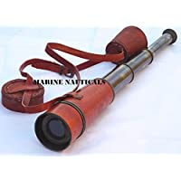Marine Nauticals 黄铜航海望远镜盖带手持 复古望远镜 间谍玻璃 父亲节礼物