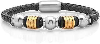 20.32cm 精美不锈钢表链黑色皮革金色设计