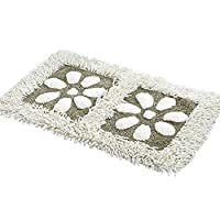 ZebraSmile 可洗花图案雪尼尔浴室地毯重型家庭入口门垫入门垫卧室室内防滑背浴室地毯 白色 19.5 X 31.5IN/ 50 X 80 CM XTDDDD11394Bai5080