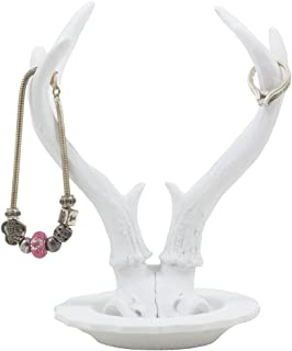 Contemporary Big Buck Deer Antler Jewelry Stand with Tray Display Rack or Decorative Key Holder As Rustic Hunting Cabin Decor Gifts for Women or Hunters