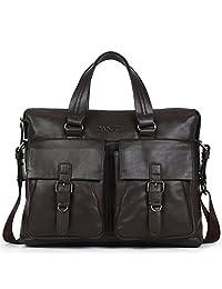 丹爵(DANJUE)全牛皮时尚单肩斜挎手提包商务休闲男士包包男式潮流公文包8102-1