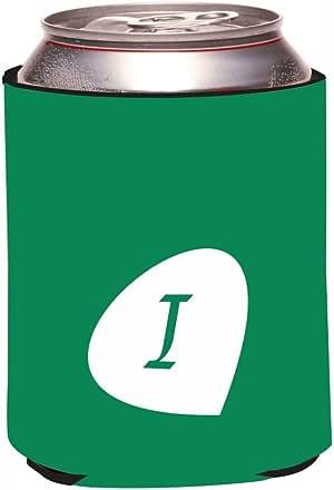 "Rikki Knight RKws-KOOZIE-43980 ""Letter I Deep Emerald Monogram Initial Petal Leaves Fall Winter Design"" Beer Can/Soda Drink Cooler Koozie"