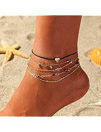 Nicute 海滩分层脚链金色水钻脚踝手链波西米亚夏季*首饰(5 件)