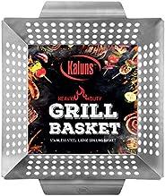 Kaluns 烧烤篮 – 蔬菜和虾的*佳烧烤篮 – 重型不锈钢材质 – 尺寸完美适合大多数烧烤 – 非常适合烧烤或烤箱使用 BBQ 配件