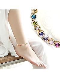 ❤ 送给她的可爱礼物❤ Kerr's Choice 彩虹系列施华洛世奇珠宝金色手镯和金色脚链 金色 Large (ANKLE BRACELET) NM