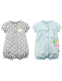 Carter's 女婴 2 件装棉质连身衣套装