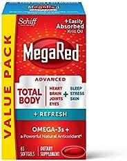 Schiff 旭福 MegaRed Omega-3 全身+ 500毫克軟膠囊,MegaRed(一瓶65粒),易于吸收的磷蝦油,有益于心臟、關節、大腦和眼部