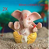 Qptimum 0895 2X 微型树脂 Pagdi Ganesha Lord Ganpati Ganesh Vinayaka 工艺雕塑水族箱书架沙发迷幻装饰品鱼缸装饰爬行动物