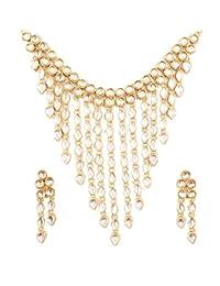 """全新! Touchstone""""Padmavati Collection"""" 印度宝莱坞* Kundan Polki 设计师珠宝新娘项链套装仿古金色调女士。"""