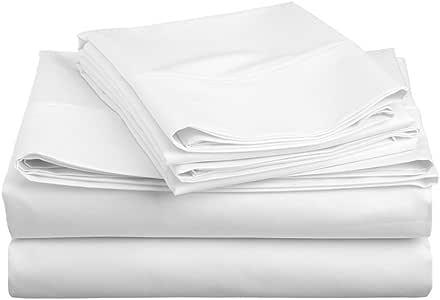eLuxurySupply 600 支棉混纺床单套装*舒适耐用 - 床单床笠枕套 - 抗皱 白色 King HCCOTTONBLEND600WhiteKing