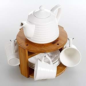 in-life宜生活 茶壶系列 欧式简约镁质陶瓷茶具14件套 陶瓷水具 水壶 陶瓷茶壶套装《星星之火》B30041