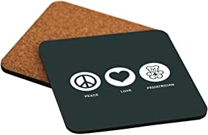 Rikki Knight Peace Love Pediatrician Green Color Design Cork Backed Hard Square Beer Coasters, 4-Inch, Brown, 2-Pack
