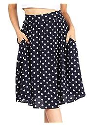 女式纯色印花常规加大码轻质飘逸 A 字裙带侧口袋 - 美国制造