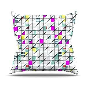"Kess InHouse Michelle Drew 方形抽象几何图案户外抱枕 26"" x 26"""